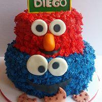 Petites Sucreries - Gâteau (Crème au beurre) Elmo Cookie Monster Sesame Street